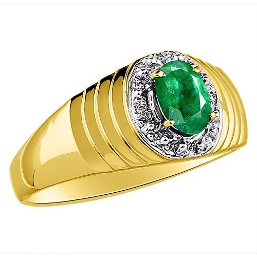 (Genuine Diamond & Natural Oval Emerald Ring set in Yellow Gold Plated Silver)