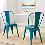 Vintage Tabouret Bistro Peacock Metal Dining Chairs (Set of 2)