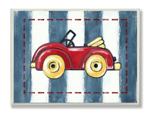 The-Kids-Room-by-Stupell-Red-Convertible-on-Blue-Stripes-Rectangle-Wall-Plaque