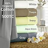 All Natural 100% Certified Organic Cotton Sheet set sateen (Gray, Queen)