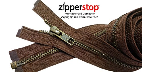 Zipperstop Wholesale YKK®- Jacket Zippers YKK® #5 Antique Brass- Metal Teeth Separating for Crafter's Special Color Seal Brown #568 Made in USA -Custom Length (Length 24 inches)