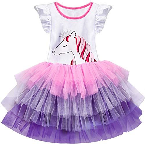 (TTYAOVO Baby Girls' Unicorn Sleeveless Ruffle Tops with Layered Rainbow Tutu Skirts Size 4-5 Years )