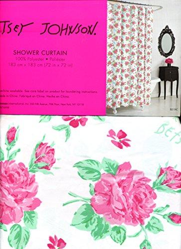Betsey Johnson Pink Flower (Betsey Johnson FLOWER DANDY Shower Curtain White Pink 72x72)