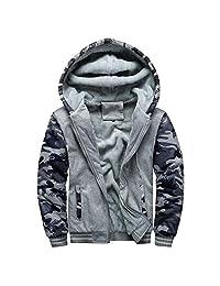 SWPS Men's Military Outerwear, Male Hoodie Winter Warm Fleece Zipper Sweater Jacket Outwear Coat Tops Blouses