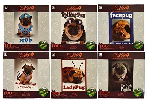 Set of 6 Puggo 100pc Pug Puzzles! Eco-Friendly! The PugFather, Love Me...Naughty, LadyPug, Facepug, MVPug, Rolling Pug 10