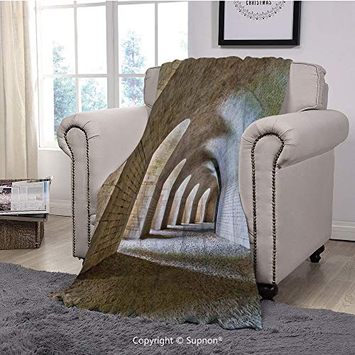 BeeMeng Printing Blanket Coral Plush Super Soft Decorative Throw Blanket,Medieval,Castle Tunnel Interior with Arches in a Bastion Fortress Historical Design,Sand Brown Cream(59