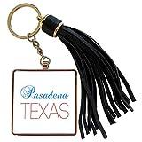 3dRose Alexis Design - American Cities Texas - Pasadena, Texas, red, blue text. Patriotic home town design - Tassel Key Chain (tkc_301534_1)