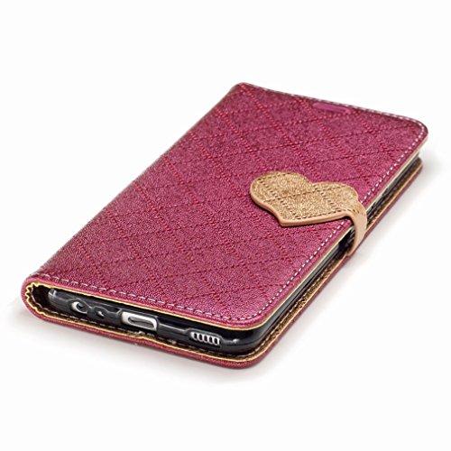 Yiizy Huawei P10 Custodia Cover, Amare Design Sottile Flip Portafoglio PU Pelle Cuoio Copertura Shell Case Slot Schede Cavalletto Stile Libro Bumper Protettivo Borsa (Rosso)