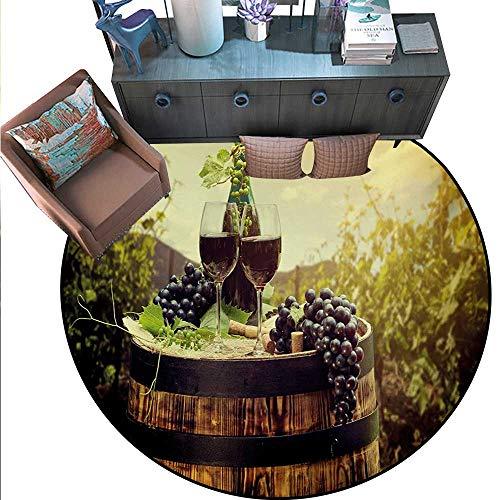 "Wine Non-Slip Round Rugs Scenic Tuscany Landscape Barrel Couple Glasses Ripe Grapes Growth Living Dinning Room Bedroom Rugs (55"" Diameter) Green Black Brown.jpg"