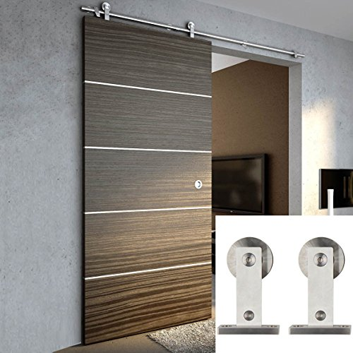 Hahaemall Rustic American 5-8 FT Stainless Steel Sliding Barn Door Hardware for Wood Doors Closet Hardware Set Heavy Roller Rolling Track (6 FT Single Door Kit) by Hahaemall