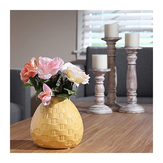 """Hosley 6.5"""" High Yellow Ceramic Table Top or Floor Vase. Ideal Gift for Wedding, Bridal, or Party O6 - PRODUCT: Hosley's 6.5'' High Yellow Ceramic Vases USE: Great for adding a decorative touch to any room's decor. Wonderful accent piece for coffee tables or side tables. Perfect for everyday use, wedding, events, aromatherapy,Spa, Reiki, Meditation. BENEFITS: They can accent your home or office for the right decor with or without floral or greenery additions. - vases, kitchen-dining-room-decor, kitchen-dining-room - 51VLlyNF1dL. SS570  -"""