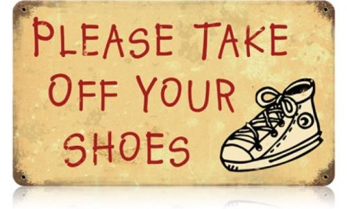 7ee13d362c5c Amazon.com  Take Off Your Shoes Home and Garden Vintage Metal Sign -  Victory Vintage Signs  Home   Kitchen