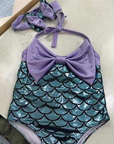 Oudan Children Swimsuit Nordic Beauty Girls Swimsuit Fish Split Swimsuit Louver, Fish Light Purple 3 (Color : As Shown, Size : One ()