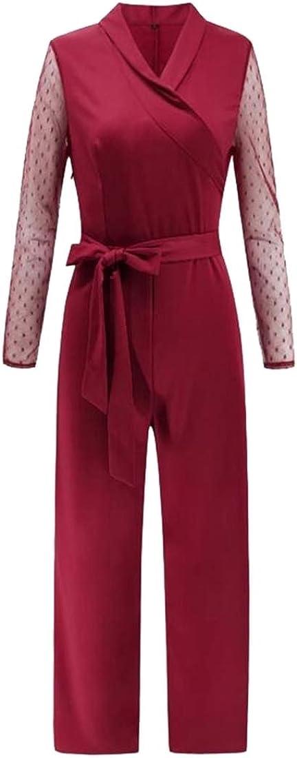 ouxiuli Womens Elegant Long Sleeve Polka Dot Jumpsuits Romper Wide Leg Pants with Belt