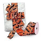 "Bats & Webs Halloween Wired Ribbon - 2 1/2"" x 10"