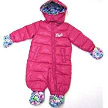 Diesel Baby Girls Insulated Hooded Pram Snowsuit With Detachable Hood, Mittens and Booties,