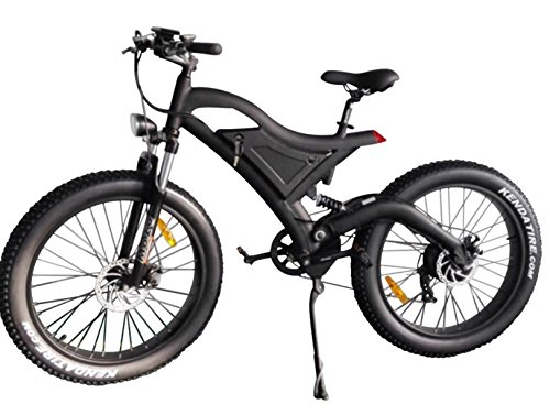Bpmimports Black Frame Black Rims 750watts Fat TIRE 48V 4′ Kenda Tires Samsung Battery 26 inch Wheels Electric Bicycle Bike !!Dual Suspension For Sale