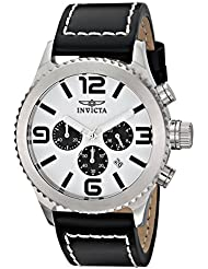 Invicta Mens 1426 II Collection Black Leather Chronograph Watch