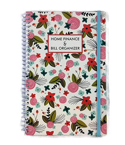 Home Finance & Bill Organizer with Pockets (White with Flowers & Leaves) (Bill Pocket Organizer)