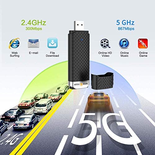 WiFi Adapter for Pc, Ac1300Mbps High Speed 802.11Ac Gaming Wireless usb Adapter Long Range Wifi usb Dual Band 5G Wifi Dongle for Desktop / Laptop, Install Fast, Just 3 Minutes,U Disc Driver Included