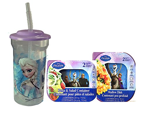 Disney Frozen 5pc. Resuable Mealtime Set! Includes Pasta and Salad Container with Lids and 2 Shallow Dish Plus Bonus Disey Frozen Sports Tumbler with Lid and Straw!