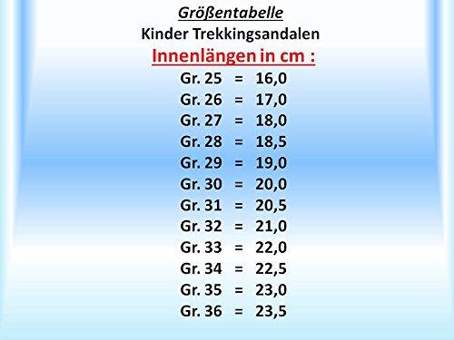 gibra® Sandalias Trekking para niños, con cierre de velcro, color negro/verde, talla 25–36 negro y verde neón