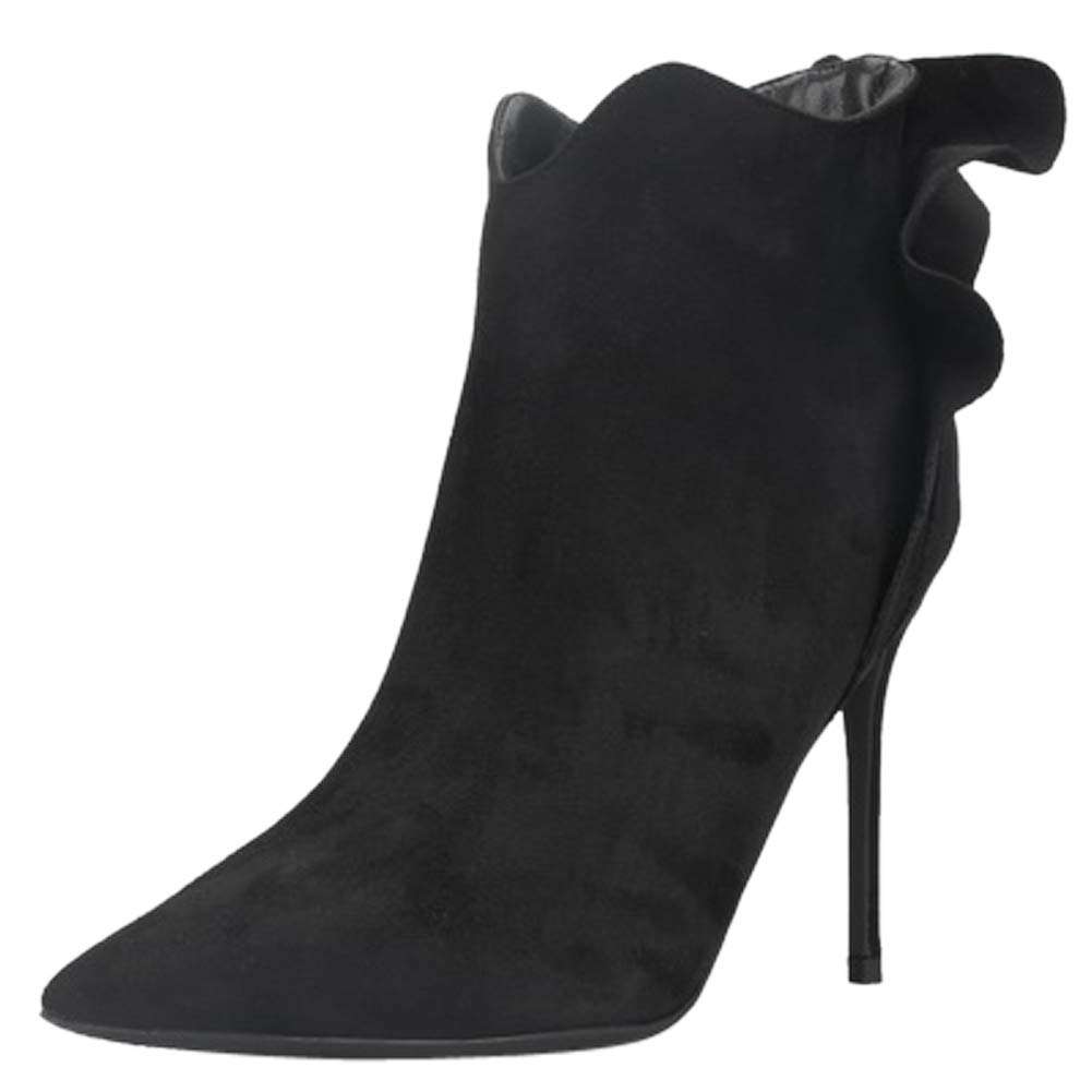 BIGTREE Bottines Noir avec en Daim à Volants Chaussures pour Femmes avec Fermeture à glissière Chaussures de soirée à Bout Pointu Classiques Noir 3ac849f - latesttechnology.space