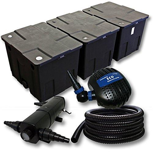 Filter-Set-aus-Bio-Teichfilter-bis-90000l-UVC-Klrer-mit-36W-85W-Pumpe-und-25m-Schlauch