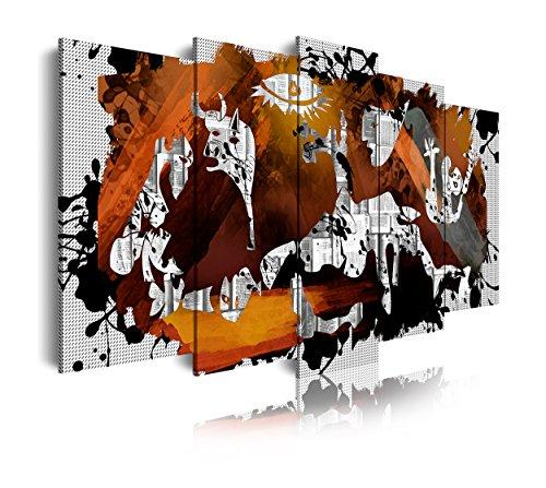 DekoArte 428 - Cuadros Modernos Impresion de Imagen Artistica Digitalizada | Lienzo Decorativo para Tu Salon o Dormitorio | Estilo Abstractos Arte Picasso Guernica | 5 Piezas 200 x 100 cm XXL