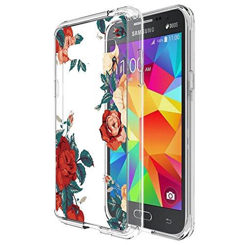 Galaxy J3 Case, Galaxy J3V Case, Skmy Shockproof Hard PC+ TPU Bumper Case Scratch-Resistant Cover for Samsung Galaxy J3 V/J36V, Galaxy Sky/Sol, Galaxy Amp Prime, Galaxy Express Prime (Rose Flower)