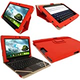 """iGadgitz Red 'Portfolio' PU Leather Case Cover for Asus Transformer Pad & Keyboard Dock TF700 TF700T TF700KL Infinity 10.1"""" Android Tablet (NOT SUITABLE FOR TF701T)"""