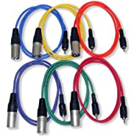 GLS Audio 3ft Patch Cable Cords - XLR Male To RCA Colors Cables - 3 Home Series Cord - 6 PACK