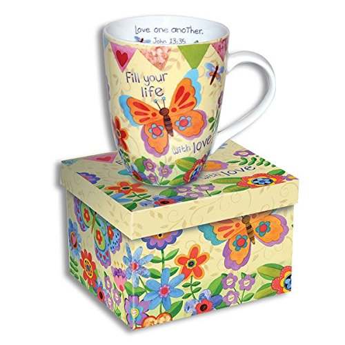 Beautiful Ceramic Coffee Cup - MUG with SCRIPTURE - FILL Your LIfe with LOVE - COLORFUL Matching GIFT BOX - LATTE Tea Inspirational RELIGIOUS Christmas Gift PSALMS Bible LOVE Joy FAITH by Divinity