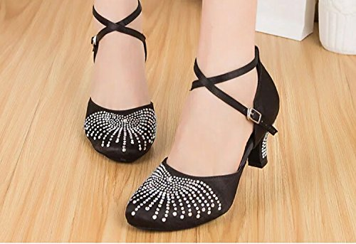 MY Shoes Beading Pumps Satin Miyoopark Heel Latin Wedding Black Ladies L134 Dance 6cm qx0wCA58
