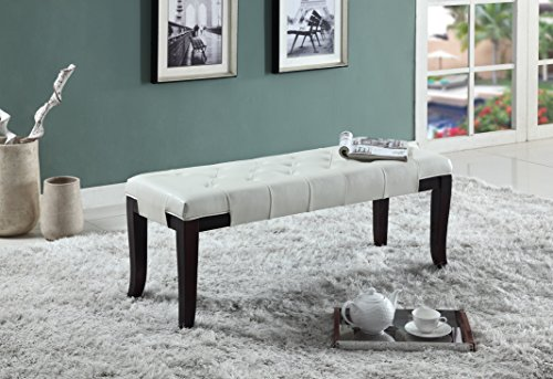 Roundhill Furniture Linon Leather Tufted Ottoman Bench, White - Bedroom Office Bench