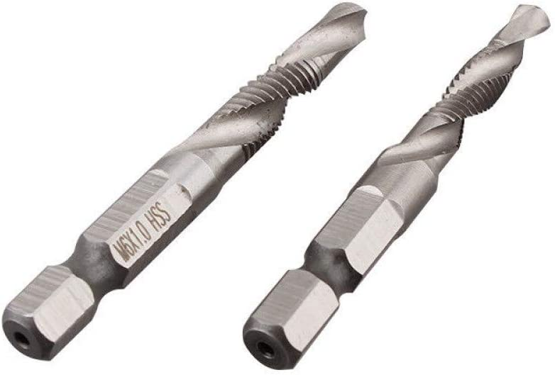 KONGZIR Stainless Ware 6Pcs High-Speed Steel Silver M3-M10 Drill Bits,Countersink Set Metric Combination Drill Tap