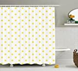 Polka Dot Shower Curtain Ambesonne Polka Dots Home Decor Collection, Retro Small Yellow Polka Dots on Plain Background Equally Sized Circle Pattern, Polyester Fabric Bathroom Shower Curtain, 75 Inches Long, Yellow White