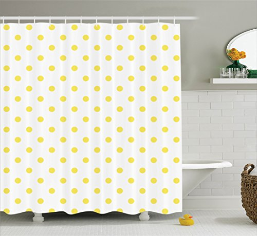 Ambesonne Polka Dots Home Decor Collection, Retro Small Yellow Polka Dots on Plain Background Equally Sized Circle Pattern, Polyester Fabric Bathroom Shower Curtain, 84 Inches Extra Long, Yellow White ()