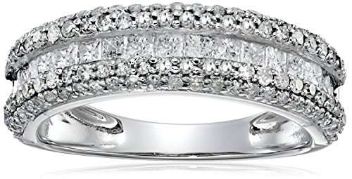 14k White Gold 1 cttw Diamond Band Ring, Size 8 by Amazon Collection