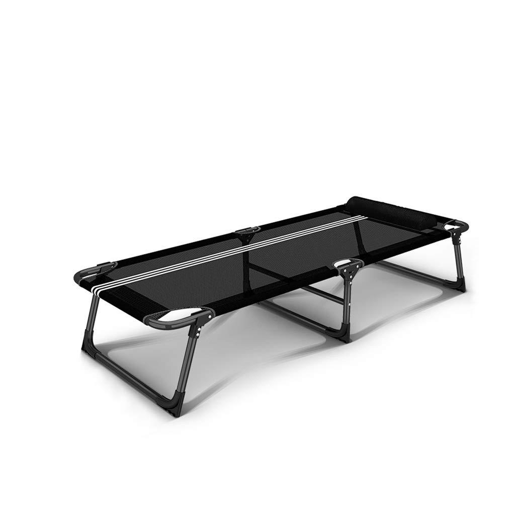 折りたたみキャンプベビーベッド、強く安定した折りたたみ式屋外ベッド屋内&屋外使用、旅行のためのヘビーデューティデザイン、オフィス昼寝、ビーチの職業 (Color : Black) B07SNTMB3V Black