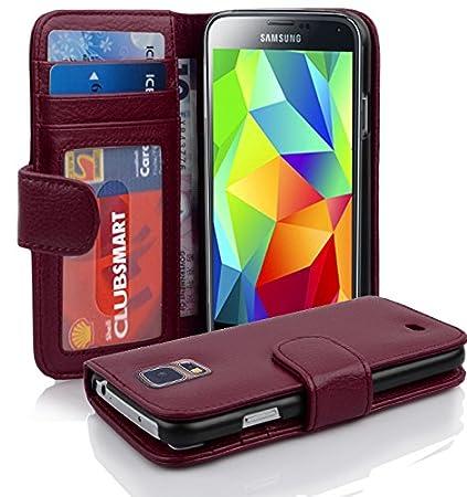 Cadorabo Hülle kompatibel mit Samsung Galaxy S5 / S5 NEO Hülle in BORDEAUX LILA Handyhülle mit 3 Kartenfächern