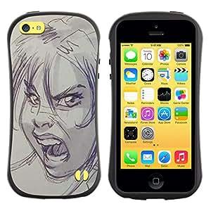 Paccase / Suave TPU GEL Caso Carcasa de Protección Funda para - scream scary Halloween sketch angry - Apple Iphone 5C
