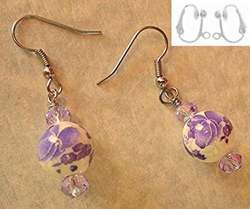 Porcelain Clip Earrings (Purple & White Flower Porcelain / Ceramic & Lavender Glass Bead Earring Set (Clip-Ons))