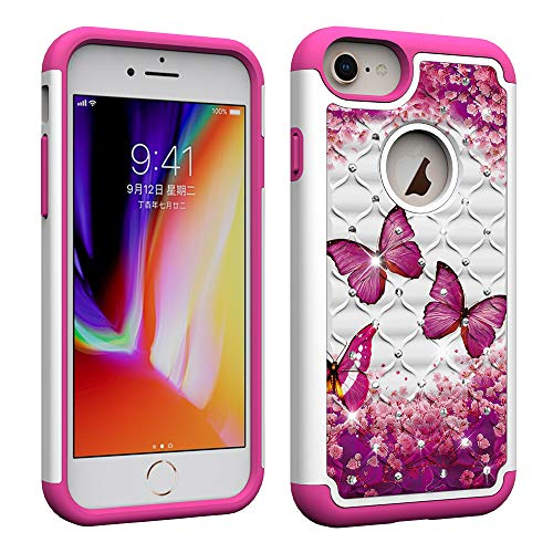 NVWA Compatible Apple iPhone 8 7 6 6S Case [Heavy Duty] Tough Dual Layer 2 in 1 Rugged Rubber Hybrid Hard Plastic Soft TPU Back Protective Cover Coloured Drawing with Glitter Crystal - Rose Butterfly (Iphone 6 Best Price Canada)