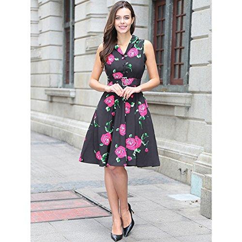 de cinturón rockabilly sin V desmontable en con con Negro mangas rojo Womens vintage vestido té 50s cuello Rosa 5vpxq0WUwO