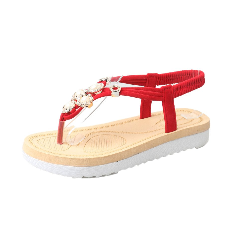 Lookatool Women Thick Soled Sandals Summer Students Slip Flat Muffin Leisure Women Sandals B073XCXCBX 7.5 B(M) US|Red