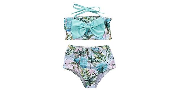 2Pcs Baby Girls Halter Bowknot Tube Top+Floral Short Bottoms Bikini Bathing Suit Swinwear Floral, 0-6Months