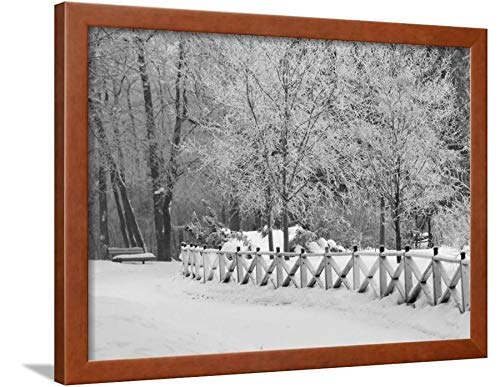 ArtEdge Winnipeg Manitoba, Canada Winter Scenes Keith Levit, Brown Framed Wall Art Print, 18x24 in (Canada Winter Winnipeg Scenes Manitoba)