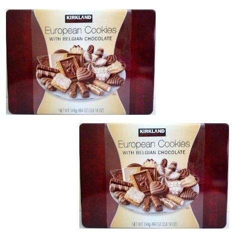 Kirkland Signature European Cookies with Belgian Chocolate: 2 Tins of 3 Lb 14 Oz