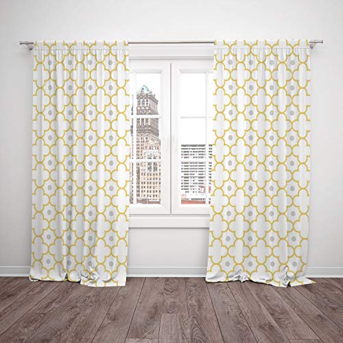 2 Panel Set Thermal Insulated Blackout Window Curtain,Quatrefoil Moroccan Style Lattice Pattern Dots in Daisy Diamond Petals Four Leaf Clover Brown White,for Bedroom Living Room Dorm Kitchen Cafe (Diamond Cafe Diamond Brown)